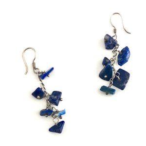 Vintage Lapis Lazuli Chip Sterling Silver Earrings